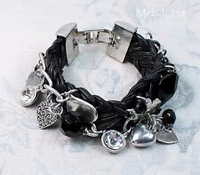 KW Woven Bracelet  Black Leather Heart Charm Crystal Rhodium Plate BNWT Sale!