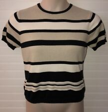 Petite Sophisticate Womens Size M Black Striped Sweater Top Short Sleeve