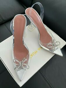 AMINA MUADDI Rosie crystal-embellished bow-detailed PVC slingback pumps Eusize41
