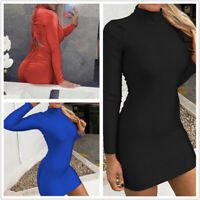 Women's Sexy High Neck Long Sleeve Drawstring Bodycon Slim Night Club Mini Dress