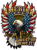 "American Bald Eagle American Flag Love it or Leave it Decal 12"" Free Shipping"