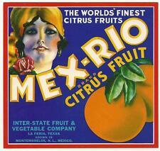 Mex-Rio Citrus Crate Label Interstate Fruit & Veg. La Feria,Tx. Rolf  Armstrong