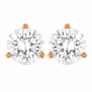 Swarovski Solitaire Pierced Earrings, White, Rose-Gold Tone Plated 5112156