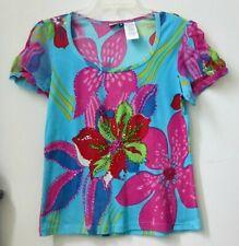 Women Top Size M Short Sleeve Embellished Knit Forbidden Floral Cotton Stretch