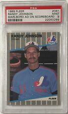 1989 Fleer Randy Johnson Rookie Card #381 Error Marlboro Ad On Scoreboard PSA 9