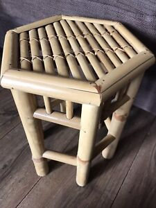 Retro / Vintage Hexagonal Bamboo Side Table Plant Stand / Stool Cane Rattan