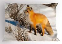 Woodland Fox Pillow Sham Decorative Pillowcase 3 Sizes Bedroom Decor