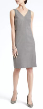 NWT! $138 Banana Republic~Size 4~Luxe Brushed Twill Paneled Sheath Dress~Gray