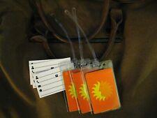 National Airlines Luggage Tags - Vintage NAL Orange Yellow Sun Logo Tag Set (3)