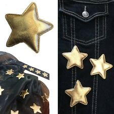 Gold Star Sew on Patch Metallic Padded Stars Pentagram Award Embroidery Patches