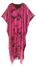 BeautyBatik Fuchsia Women Hippie Tie Dye Caftan Kaftan Loungewear Maxi Plus
