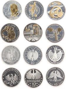 BRD 6 x 10 Euro 2011 - Gedenkmünzen Teilvergoldung - Silber - Stgl. in Kapseln