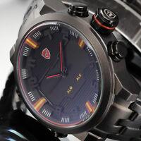 Shark Men's Digital LED Date&Day Alarm Quartz Sport Watch Stainless Steel Band