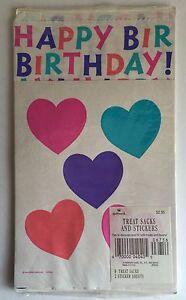 Vintage 1980s - Hallmark Treat Sacks Bags and Stickers Hearts Happy Birthday