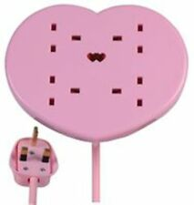 Pink Heart Shaped 4 Way Gang Extension 2M Lead With Stand & Neon Light