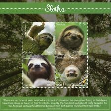 More details for gambia wild animals stamps 2020 mnh sloths three-toed sloth fauna 4 m/s