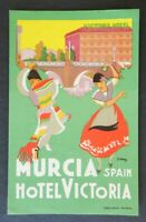 Ancienne étiquette valise HOTEL VICTORIA MURCIA Sapin Flamenco old luggage label