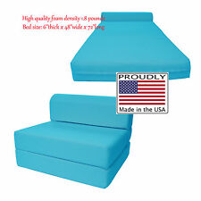 Full Size Turquoise Sleeper Chair Folding Foam Bed 6 x 48 x 72 High Density Foam