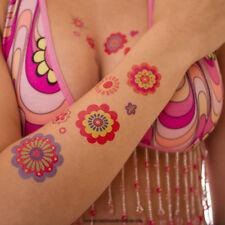 5 x Hippie Tattoo Karte 145 bunte Flower Power Peace Haut Sticker Fasching 70's