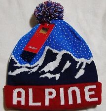 New with tags M & S Mens Gents Alpine Ski Bobble Hat Colour Blue Mix/Red Winter