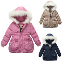 Toddler Baby Kids Girls Fashion Coats Zip Jackets Thick Warm Snow Hoodie Outwear