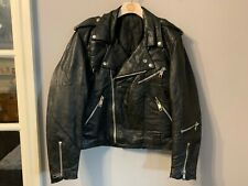VINTAGE 80's STUDDED LEATHER PUNK MOTORCYCLE JACKET SIZE S MADE IN ENGLAND
