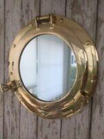 "8"" Brass Porthole Mirror Nautical Maritime Wall Decor Ship Cabin Window Gift"