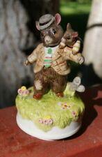 Schmid Beatrix Potter Father Mouse & Baby Mouse Music Box Rare
