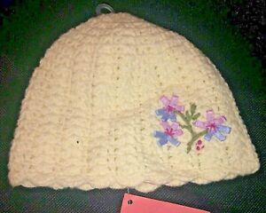 NWT Gymboree Beanie  0-3 Months  Beautiful White Knit cap Flowers hat