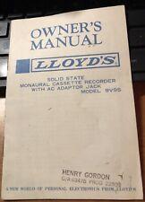 1968 LLOYDS OWNER'S MANUAL MONAURAL CASSETTE RECORDER MODEL #9V95