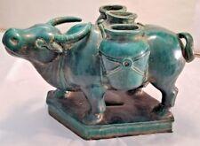 Vintage Pottery Green Glazed Ox Statue