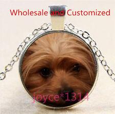 Yorkshire Terrier Cabochon Tibetan silver Glass Chain Pendant Necklace #4636