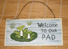 Wood Sign Plaque Decor Primitive Country Welcome To Our Pad