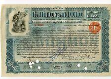 1899 Baltimore and Ohio 10 share @ $100 certificate w/British Embossed Revenue