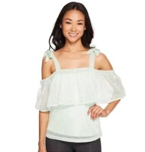 NWT PUMA Women's Spray Green Xtreme Off the Shoulder Tee Top Shirt Size S