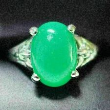 Sparkling Oval Green Jade Ring Women Wedding Jewelry 14K White Gold Plated