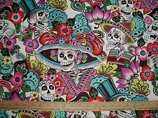 Cotton Fabric Alexander Henry Dia De La Catrina on Natural Mexican Skulls  BTY