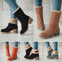 Womens Suede Snow Ankle Boots Winter Fur Thick Cuffed Mid Calf Casual Warm Shoes