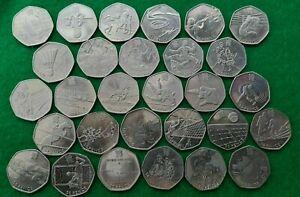 29 coins x 50p sport 2012 London Olympics - FULL SET