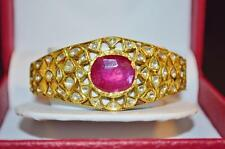 ESTATE MOGHUL ENAMEL 22K 22CT 18K SOLID GOLD RUBY DIAMOND CUFF BANGLE BRACELET