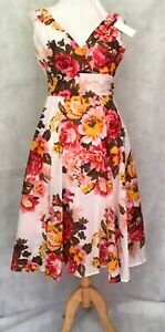 Anmol 50s Style, Cotton Midi Tea Dress, Floral Print - Ivory with Coral Flowers