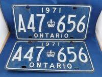 ONTARIO LICENSE PLATE 1971 TAG LOT  SET  A47 656  VINTAGE CANADA CAR SHOP  SIGN