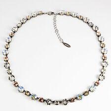 Collier Kette lang Tennis Silber 42 Swarovski Kristalle Crystal Silk klar weiß
