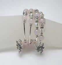 Rose Quartz and faceted crystal Fairy wrap bracelet in a pretty organza gift bag