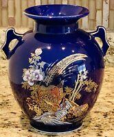 Japan Japanese Cobalt Blue Vase 8 Inch Peacocks Flowers Gold Trim