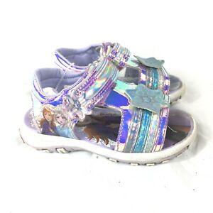 Disney Frozen 2 Sandals Toddler Girls Size 6 Shimmery Purple Blue