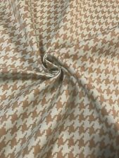 Baby Blue And Tan Houndstooth 100% Cotton Fabric BY THE YARD