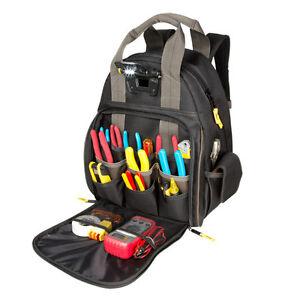 CLC L255 Professional Tool 53 Pocket Lighted Backpack Bag Carrier Padded Straps