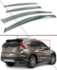 FOR 2012-16 HONDA CRV CR-V CLIP-ON SMOKE TINTED WINDOW VISOR VENT W/ CHROME TRIM