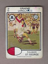 """RARE"" 1975 SCANLENS RUGBY LEAGUE CARD #78 GRAEME LANGLANDS, ST GEORGE DRAGONS"